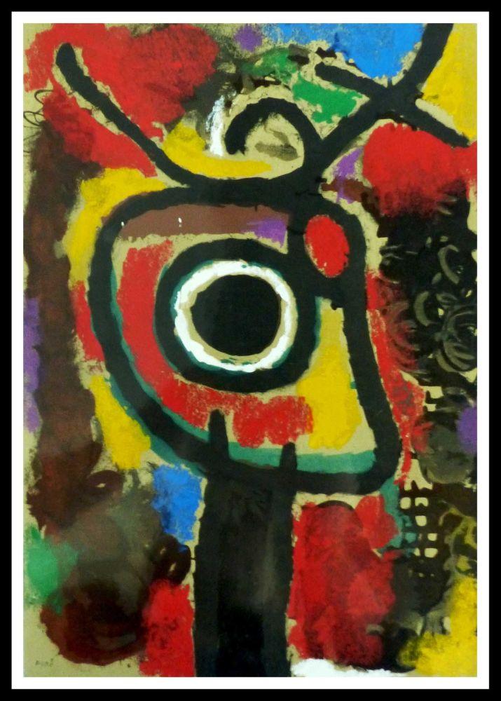 Pochoir Miró (After) - PERSONNAGE ET OISEAU