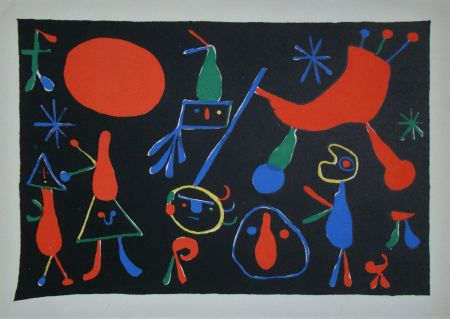 Lithographie Miró - Personnages