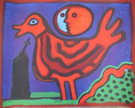 Lithographie Corneille - Petit oiseau rouge