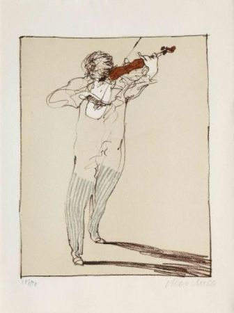Lithographie Weisbuch - Petit violoniste