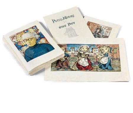 Livre Illustré Foujita - PETITS MÉTIERS ET GAGNE-PETIT. Avec suite couleurs et soie signée (1960)
