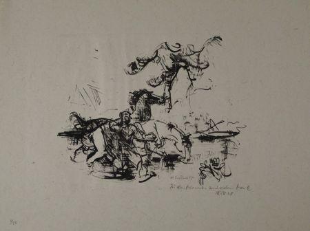 Lithographie Luckner - Pferdetränke