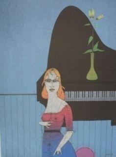 Gravure Wunderlich - Pianiste