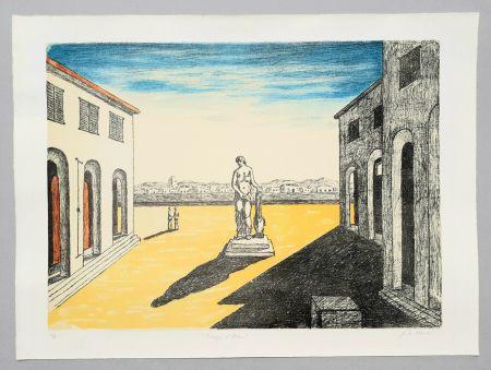 Lithographie De Chirico - Piazza d'Italia con efebo