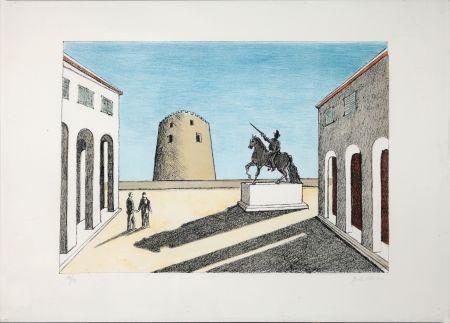 Lithographie De Chirico - Piazza d'Italia con statua equestre