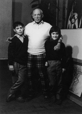 Photographie Clergue - Picasso Avec Claude Et Paloma