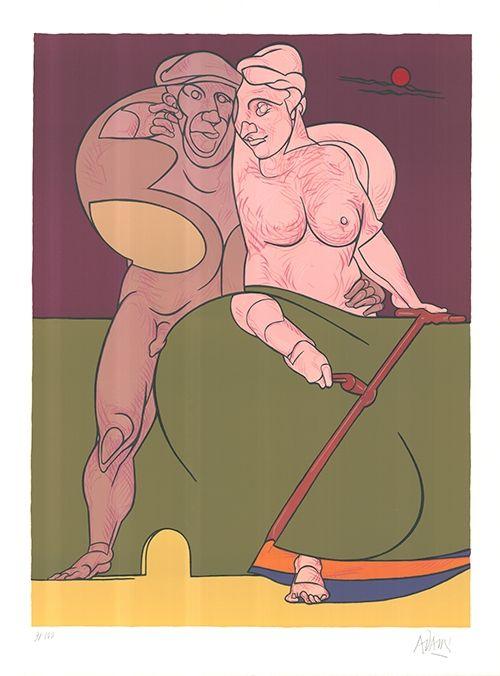 Lithographie Adami - Picasso et la femme neo-classique