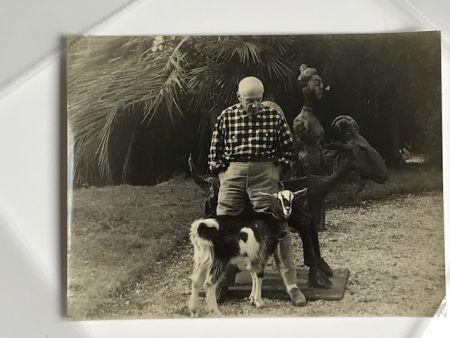 Photographie Quinn - Picasso et sa chèvre devant la fameuse sculpture