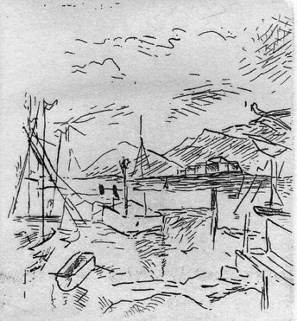 Gravure Carra - Piccolo molo I, 1924