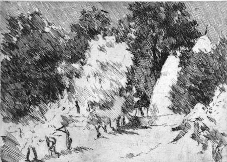 Eau-Forte Castellani - Piccolo paesaggio a Reforzate