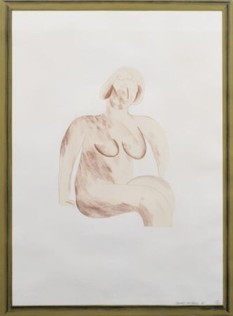Lithographie Hockney -  Picture of a Simple Framed Traditional Nude Drawing