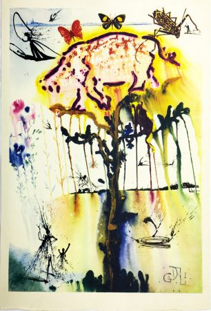 Héliogravure Dali - PIG AND PEPPER TREE (From Alice in Wonderland. New-Yok 1969).