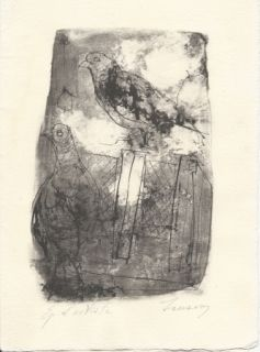 Lithographie Jansem - Pigeons