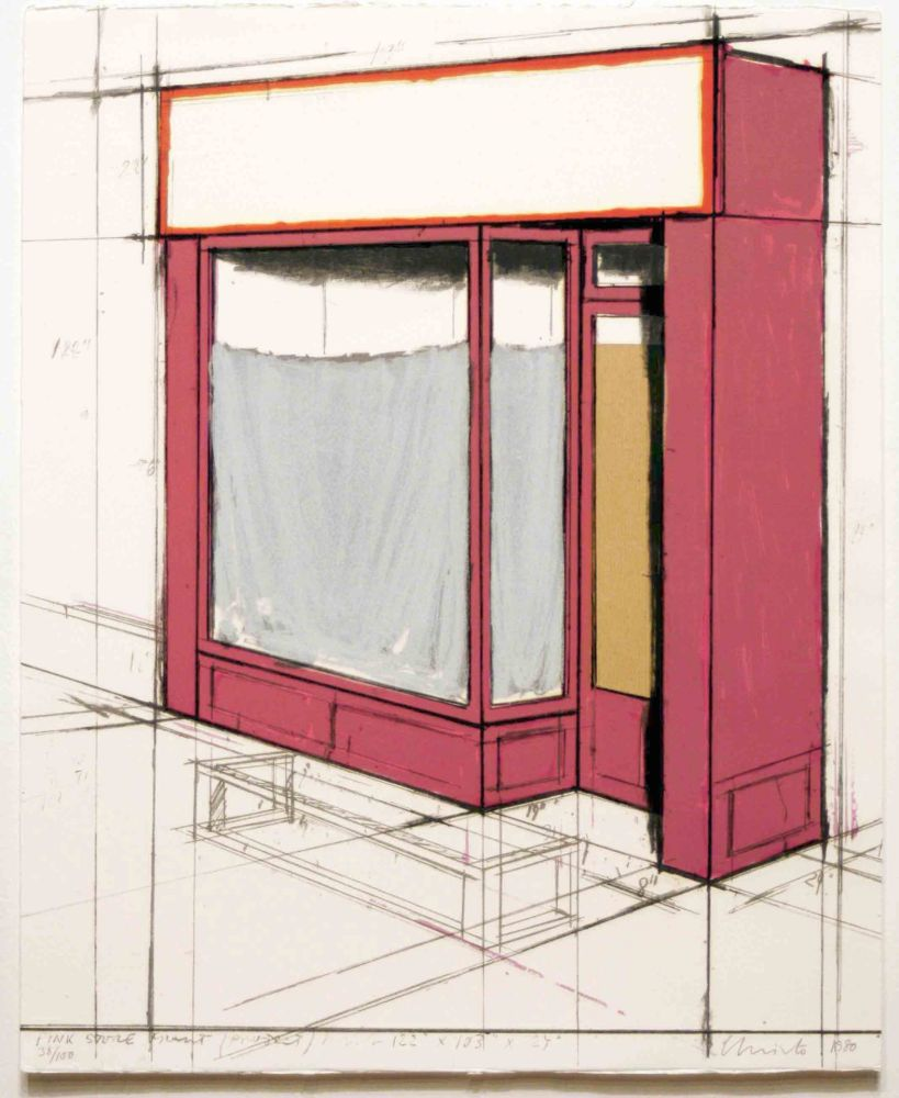 Lithographie Christo - Pink Store Front, Project from Marginalia