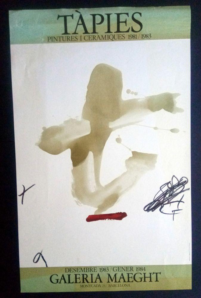 Affiche Tàpies - Pintures i Ceràmiques - Galeria Maeght 1983/1984