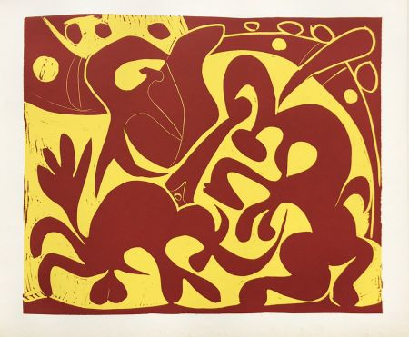 Linogravure Picasso (After) - Pique Rouge et Jaune