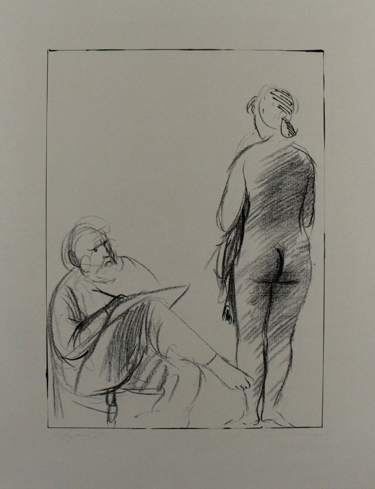Lithographie Manzu - Pittore e modella