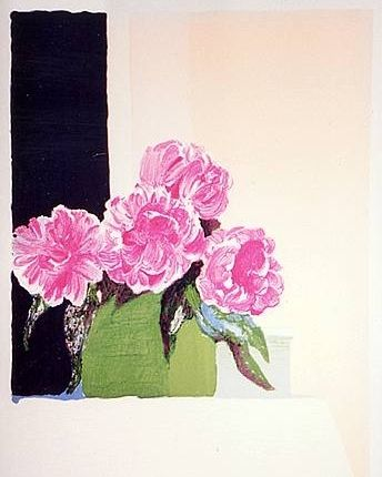 Lithographie Muhl - Pivoines