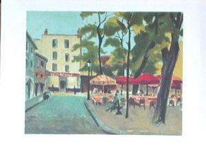 Lithographie Toffoli - Place du tertre