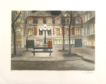 Lithographie Lecoindre - Place furstenberg