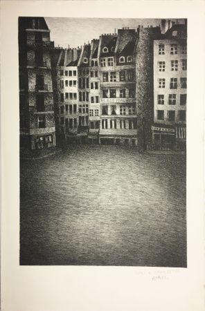Lithographie Avati - PLACE MAUBERT (1951)