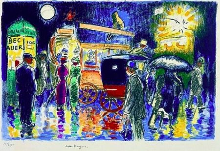 Lithographie Van Dongen - Place Pigalle by Night