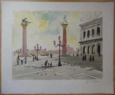 Lithographie Brayer - Place Saint Marc à Venise