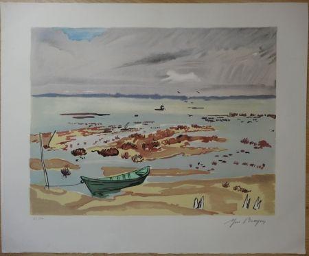 Lithographie Brayer - Plage en Bretagne