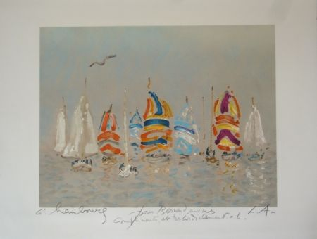 Lithographie Hambourg - Plage Trouville