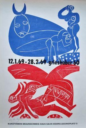 Lithographie Grieshaber - Plakat Braunschweiger Kunstverein 1969