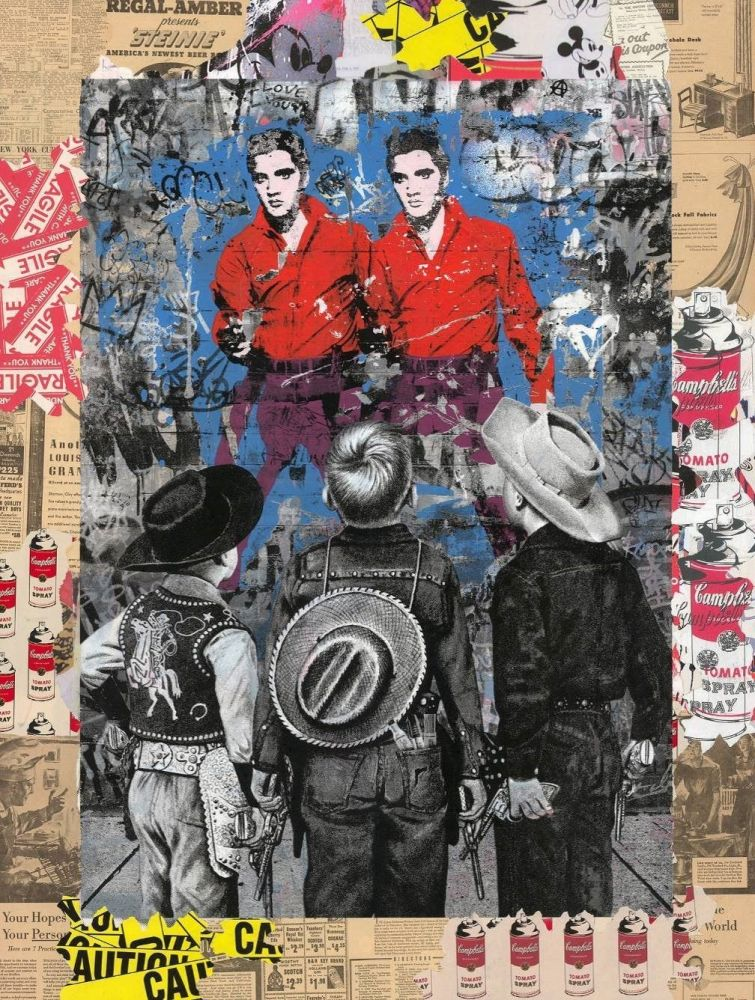Sérigraphie Mr Brainwash - Playing Cowboy