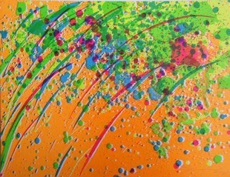 Lithographie Ting - Pluie orange