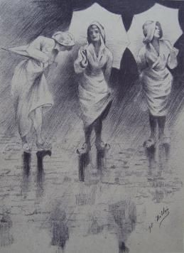 Lithographie Dillon - Pluviôse / Rainy