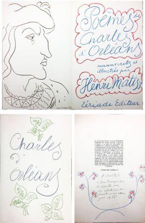 Livre Illustré Matisse - POÈMES DE CHARLES D'ORLÉANS manuscrits et illustrés par Henri Matisse (1950). Dédicace avec dessin original aux pastels de couleur.