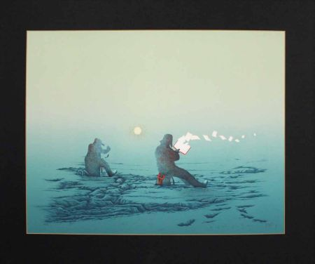 Lithographie Fanti - Poèmes inutiles (Lecteur de poésie dans la neige)
