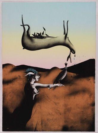 Lithographie Wunderlich - Poésie de la chasse italienne