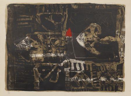 Lithographie Clavé - Poisson Au Triangle Rouge
