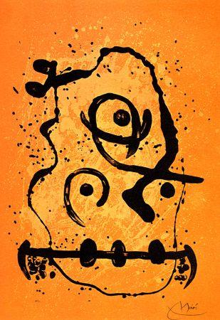 Lithographie Miró - Polyglotte Orange