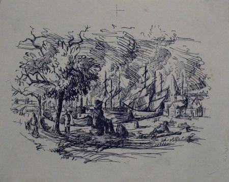Lithographie Kitzel - Port