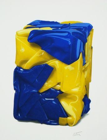 Lithographie Cesar - Portrait compression en jaune et bleu