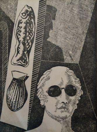 Gravure Sur Bois De Chirico - Portrait d'Apollinaire