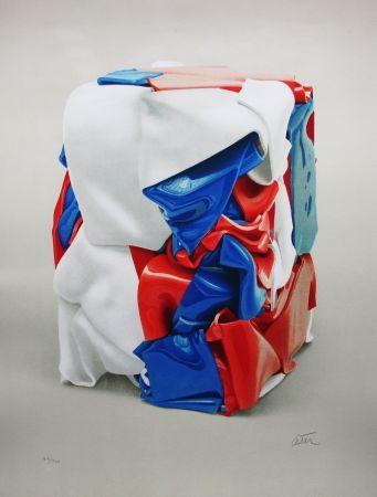 Lithographie Cesar - Portrait de compression bleu-blanc-rouge