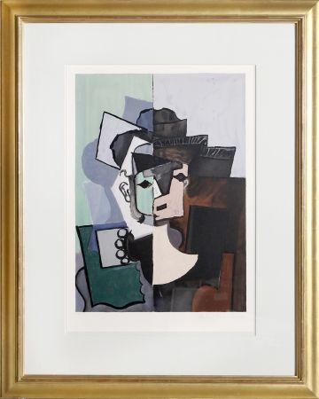 Lithographie Picasso - Portrait de Face sur Fond Rose et Vert