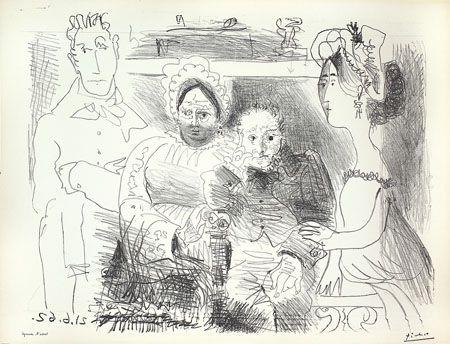 Lithographie Picasso - Portrait de Famille II