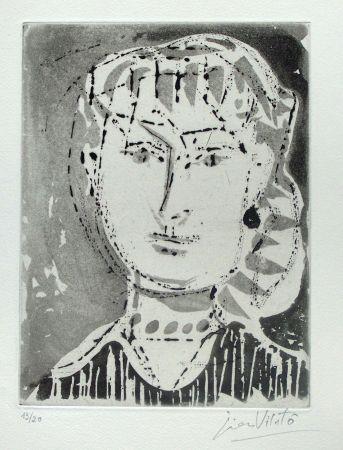 Eau-Forte Vilato - Portrait de femme