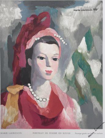 Gravure Sur Bois Laurencin - Portrait de Femme en rouge