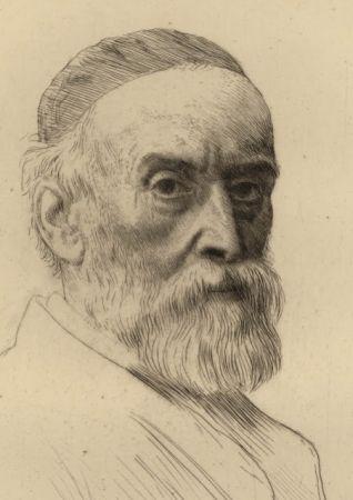 Gravure Legros - Portrait de G.F. Watts R.A.