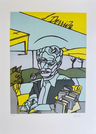 Lithographie Adami - Portrait de Jacques Derrida
