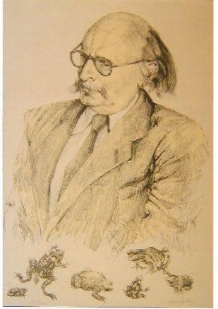 Lithographie Foujita - Portrait de Jean Rostand