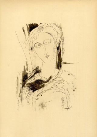 Collographie Modigliani - PORTRAIT DE JEUNE FEMME (1918/20) de l'album : Douze Contemporains par J. Lassaigne (1959)
